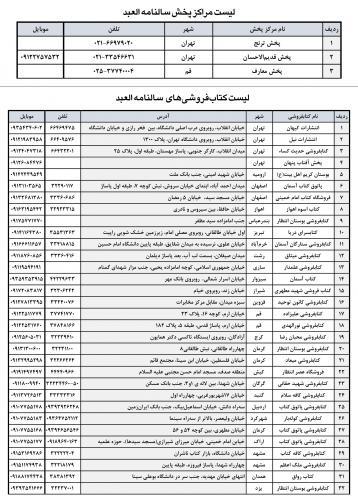 لیست کتابفروشیهای العبد ۱۳۹۵